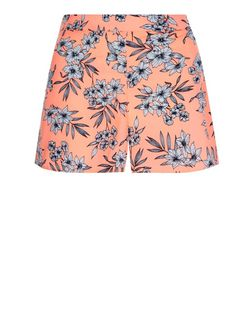 Teens Neon Orange Floral Print Shorts | New Look