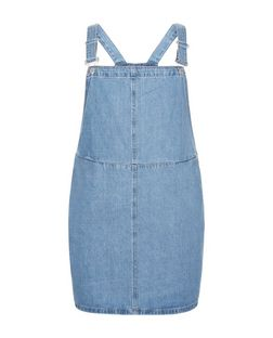Curves Blue Denim Pinafore Dress | New Look