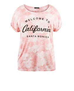 Curves Pink Tie Dye California Print T-Shirt | New Look