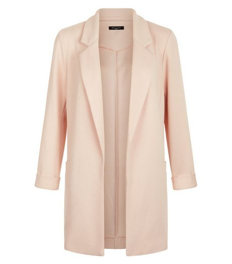 Tall Shell Pink Waffle Textured Blazer  | New Look