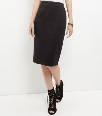 Black Textured Pencil Skirt