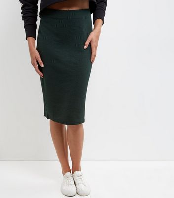Dark Green Textured Pencil Skirt