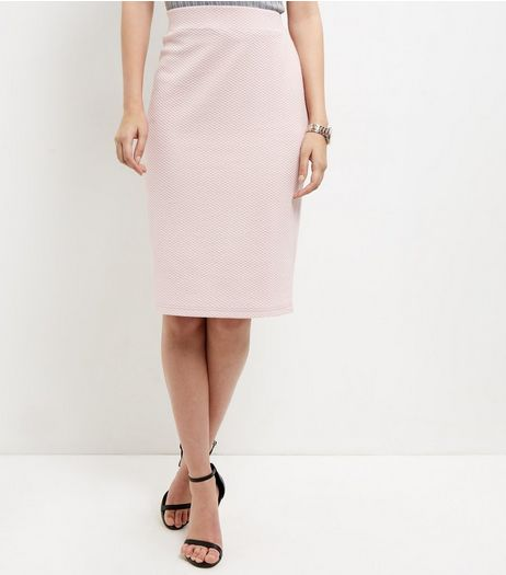 Shell Pink Textured Pencil Skirt  | New Look