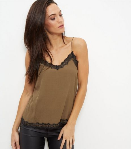 Khaki Lace Trim Cami  | New Look
