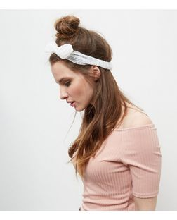 White Broderie Bandana | New Look