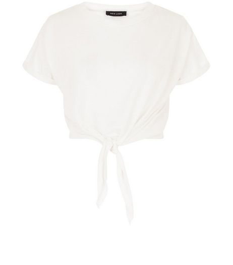 White Tie Front Roll Sleeve T-Shirt  | New Look