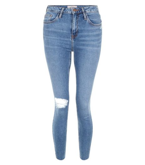 Blue Ripped Knee Notch Hem Skinny Jeans | New Look