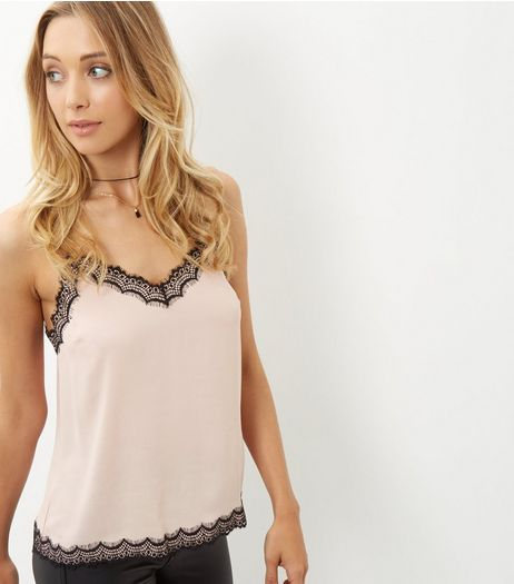 Shell Pink Contrast Lace Trim Cami  | New Look