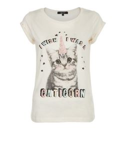Teens Cream I Wish I Was A Caticorn Print T-Shirt  | New Look