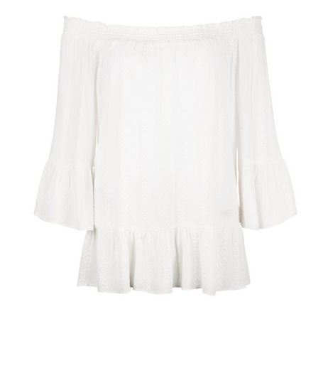 Cream Embroidered Bardot Neck Frill Sleeve Top  | New Look