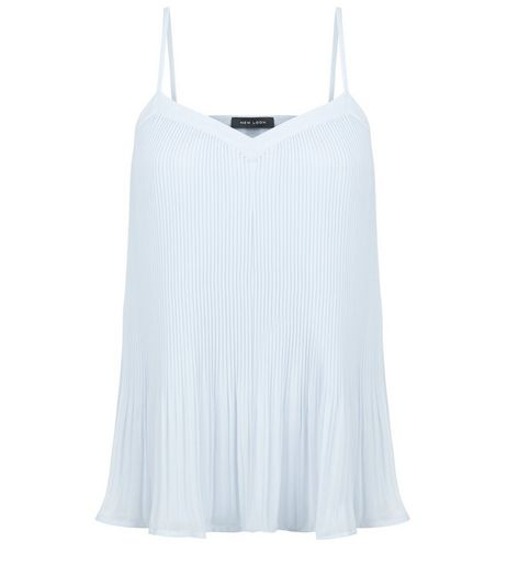 Pale Blue Pleated Chiffon Cami | New Look