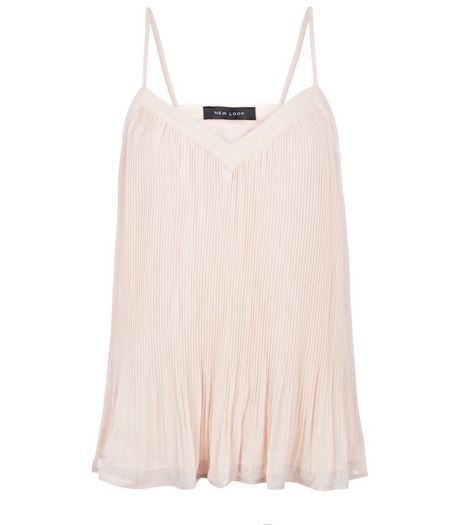 Shell Pink Pleated Chiffon Cami | New Look