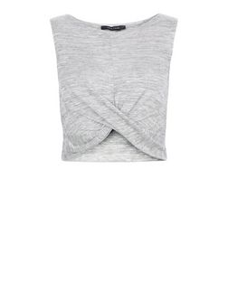 Pale Grey Fine Knit Twist Front Crop Top  | New Look