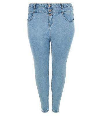 Curves Pale Blue High Waisted Skinny Jeans
