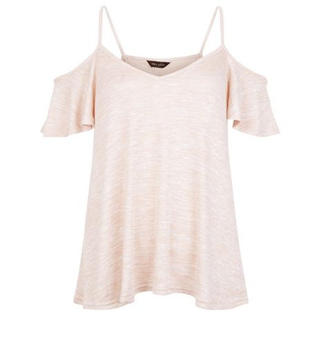 Shell Pink Cold Shoulder V Neck Cami | New Look
