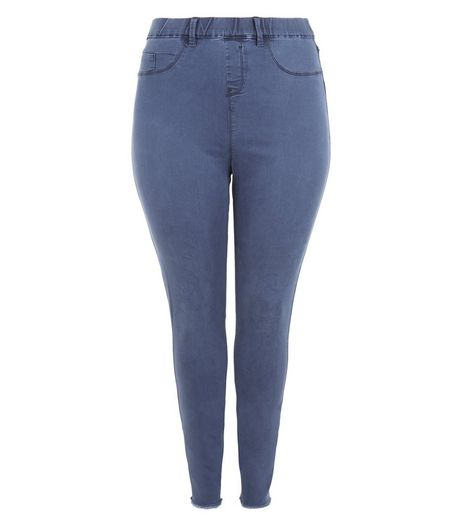 Curves Blue Fray Hem Jeggings  | New Look