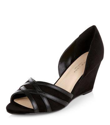 Sandalo  donna Wide Fit Black Comfort Suedette Peep Toe Wedges