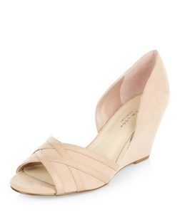Wide Fit Cream Comfort Suedette Peeptoe Wedges  | New Look