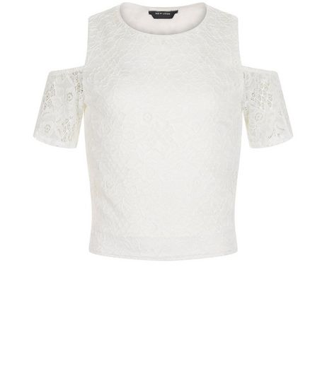 Teens White Lace Cold Shouler Top | New Look