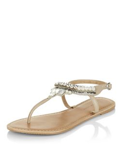 Wide Fit Cream Leather Beaded Sandals  | New Look