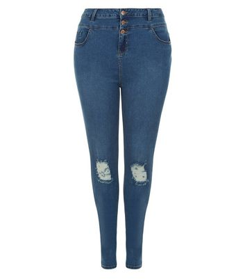Curves Blue Ripped Knee High Waisted Jeans