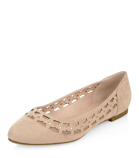 Wide Fit Cream Suedette Floral Laser Cut Out Pumps  | New Look