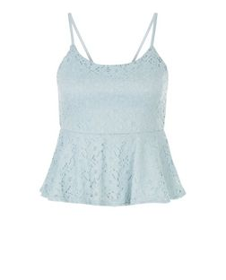 Teens Blue Lace Peplum Top | New Look
