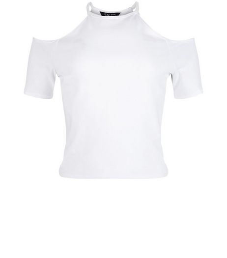 Teens White Cold Shoulder Short Sleeve Top  | New Look