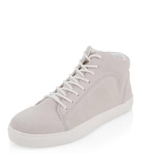 Grey Suedette Hi-Top Trainers | New Look
