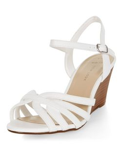 Wide Fit White Strappy Wedge Sandals  | New Look