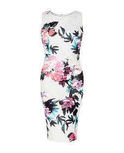 AX Paris White Floral Print Layered Midi Dress | New Look