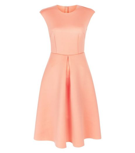 AX Paris Orange Pleated Skater Dress | New Look