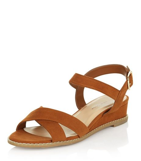 Wide Fit Suedette Cross Strap Wedge Sandals  | New Look