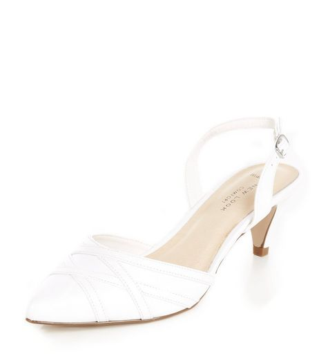 Wide Fit White Comfort Pointed Ankle Strap Heels  | New Look