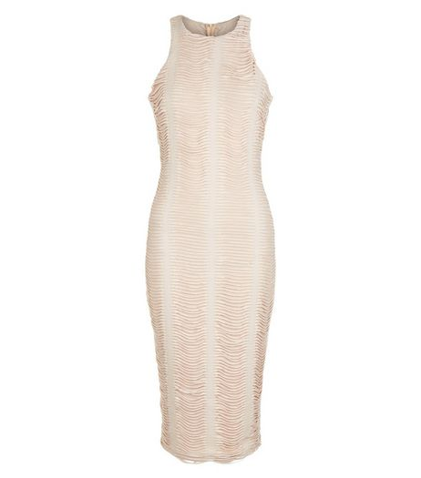 AX Paris Cream Ruched Midi Dress | New Look