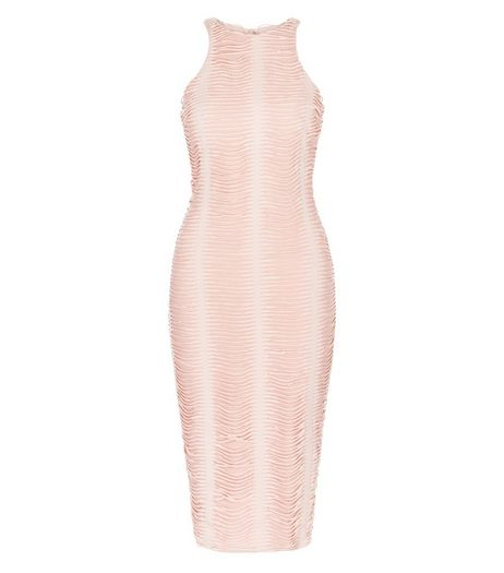 AX Paris Pink Ruched Midi Dress | New Look