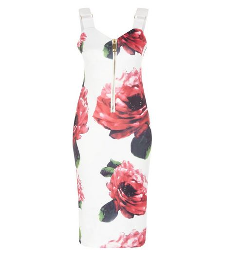 AX Paris White Floral Print Zip Front Dress | New Look