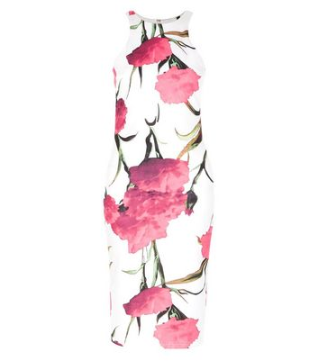 Product photo of Ax paris white floral print bodycon dress