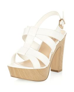 Wide Fit White Cross Strap Platform Sandals  | New Look