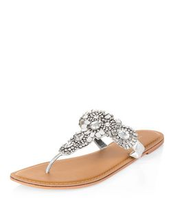 Silver Leather Gem Stone Sandals  | New Look