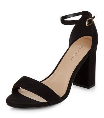 Black Suedette Ankle Strap Block Heels