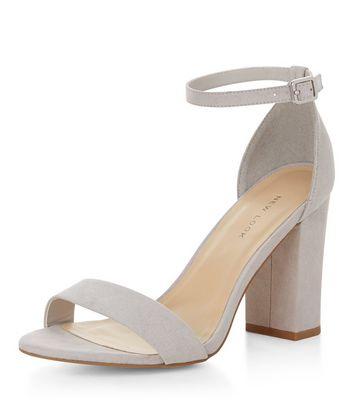 Sandalo  donna Pale Grey Suedette Ankle Strap Block Heels