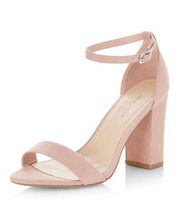 Sandalo  donna Pink Suedette Ankle Strap Block Heels
