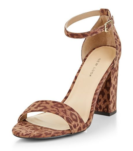 Stone Leopard Print Suedette Ankle Strap Block Heels  | New Look
