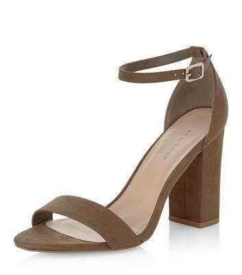 Sandalo  donna Khaki Suedette Ankle Strap Block Heels