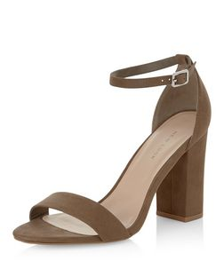 Khaki Suedette Ankle Strap Block Heels  | New Look