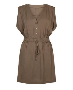 Apricot Khaki Drawstring Dress | New Look