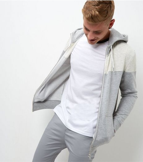 Cream Colour Block Zip Up Hoodie  | New Look