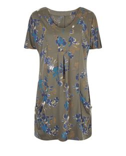 Apricot Khaki Floral Print V Neck Tunic Dress | New Look