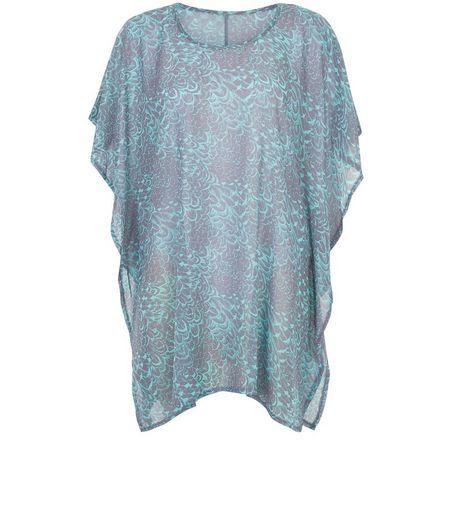 Apricot Blue Feather Print Oversized Top  | New Look